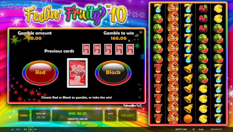 Feelin' Fruity 10 :: Red or Black Gamble Feature