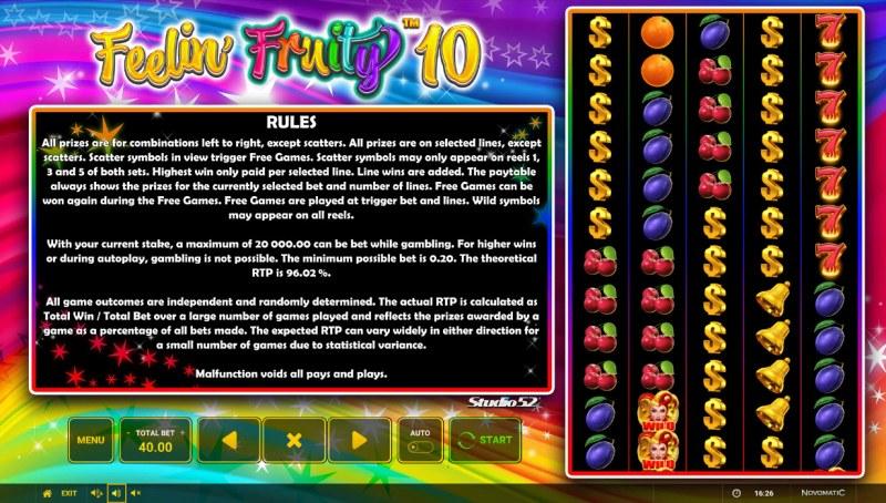 Feelin' Fruity 10 :: General Game Rules