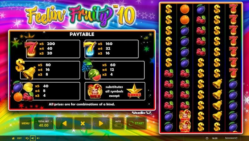 Feelin' Fruity 10 :: Paytable