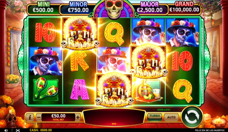 Feliz Dia De Los Muertos :: Scatter symbols triggers the free spins bonus feature