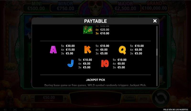 Feliz Dia De Los Muertos :: Paytable - Low Value Symbols