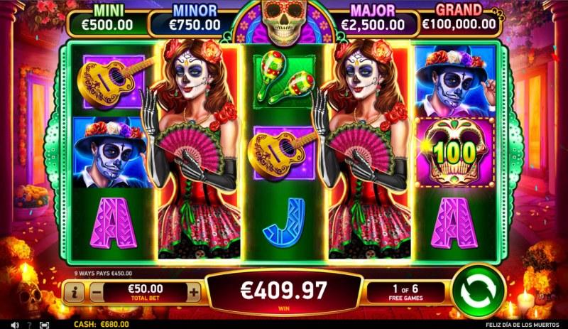 Feliz Dia De Los Muertos :: Free Spins Game Board