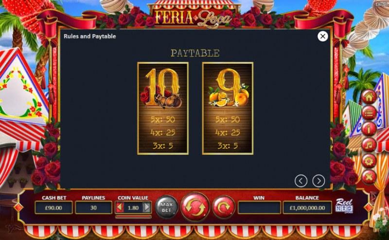 Fera Loca :: Paytable - Low Value Symbols