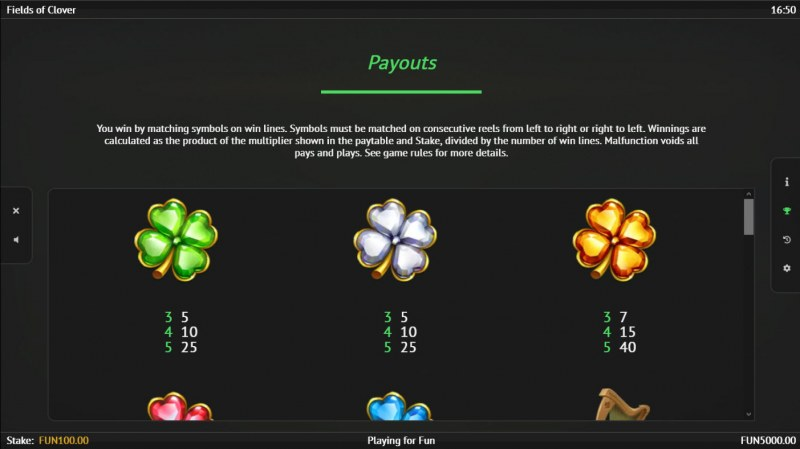 Fields of Clover :: Paytable - Low Value Symbols