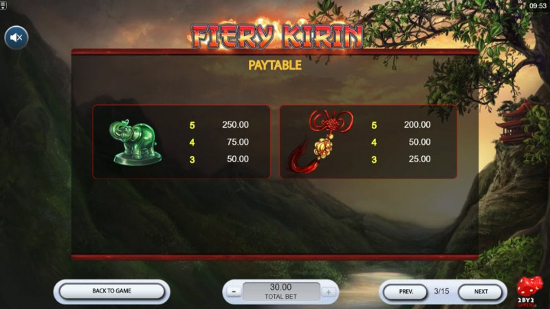 Fiery Kirin :: Paytable - Medium Value Symbols