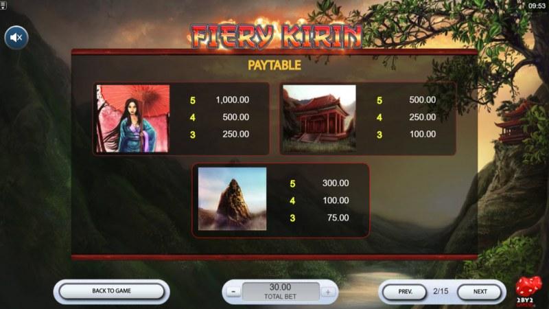 Fiery Kirin :: Paytable - High Value Symbols