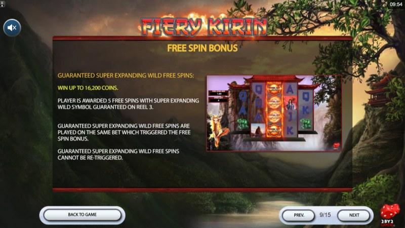Fiery Kirin :: Free Spins Rules