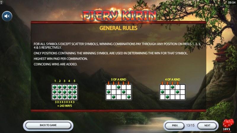 Fiery Kirin :: General Game Rules