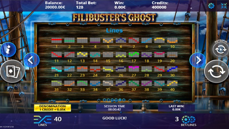 Filibuster's Ghost :: Paylines 1-40