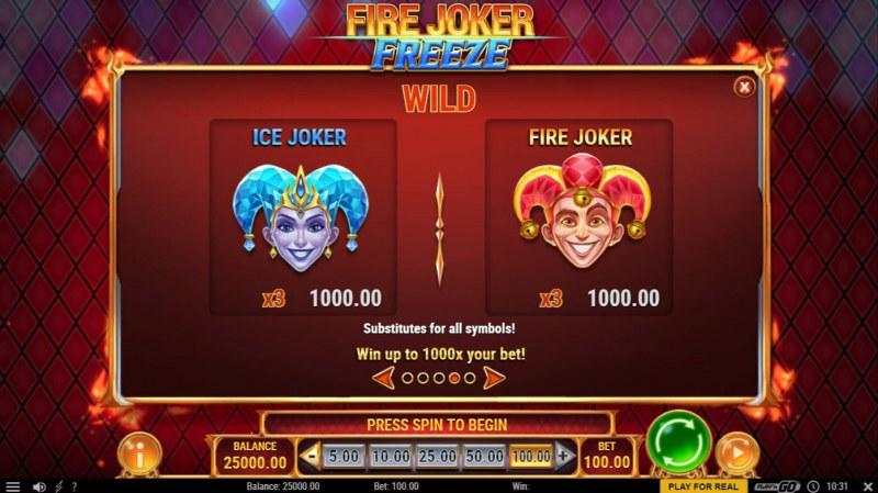 Fire Joker Freeze :: Wild Symbol Rules