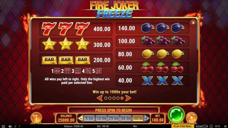 Fire Joker Freeze :: Paytable