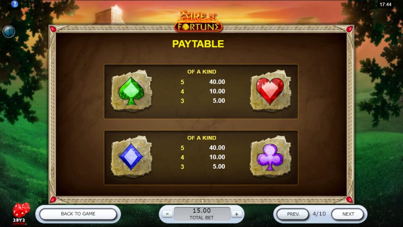 Fire N' Fortune :: Paytable - Low Value Symbols