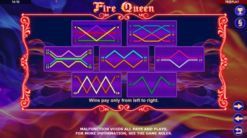 Fire Queen :: Paylines 1-20