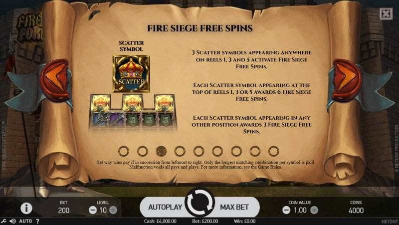 Fire Siege Fortress :: Free Spins Rules