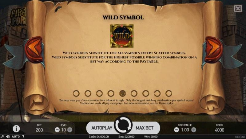 Fire Siege Fortress :: Wild Symbols Rules