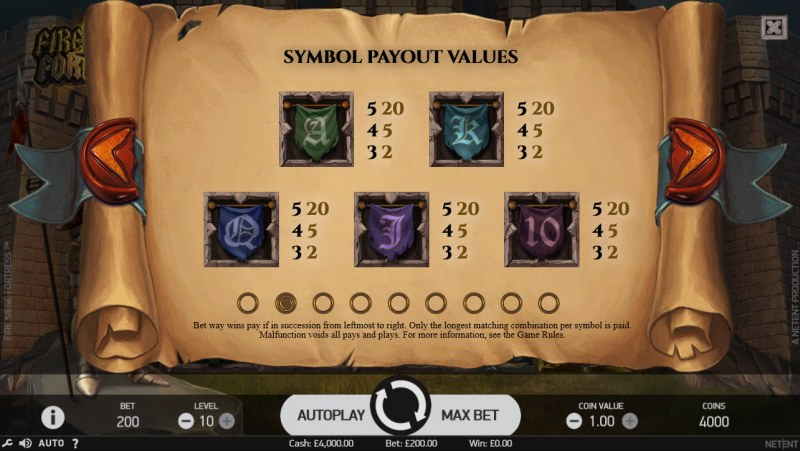 Fire Siege Fortress :: Paytable - Low Value Symbols