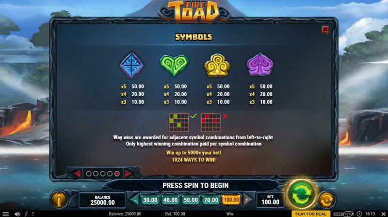 Fire Toad :: Paytable - Low Value Symbols