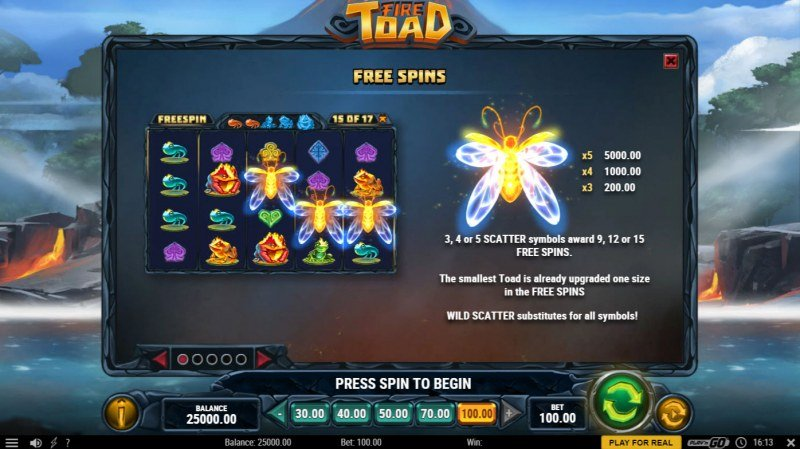 Fire Toad :: Free Spin Feature Rules