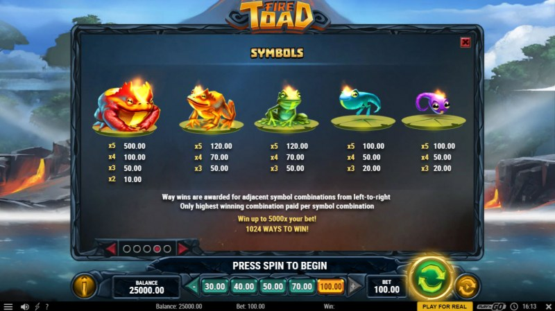 Fire Toad :: Paytable - High Value Symbols