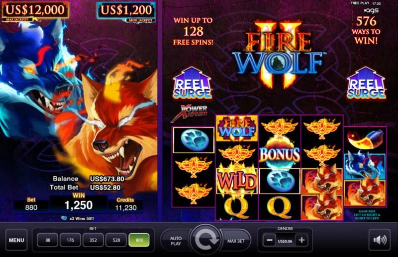 Fire Wolf II :: Multiple winning combinations