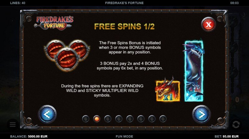 Firedrake's Fortune :: Free Spin Feature Rules