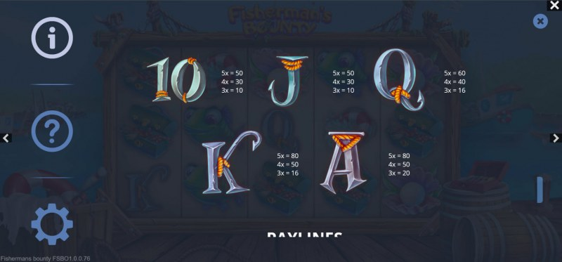 Fisherman's Bounty :: Paytable - Low Value Symbols