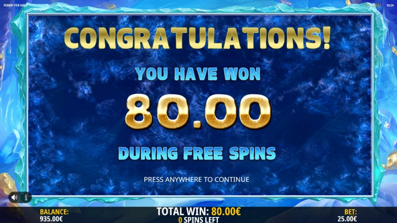Fishin for Gold :: Total free spins payout