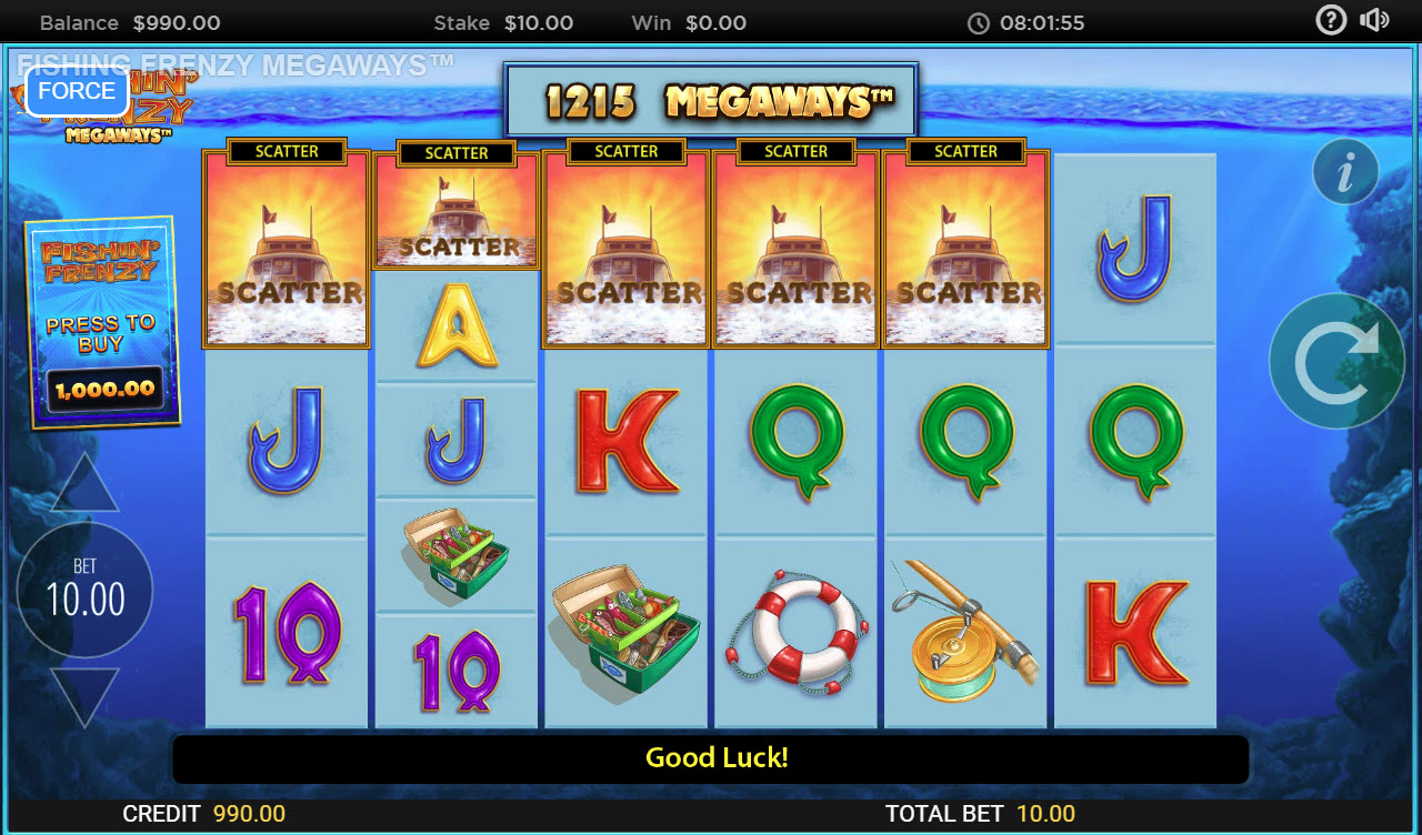 Fishin' Frenzy Megaways :: Scatter symbols triggers the free spins feature