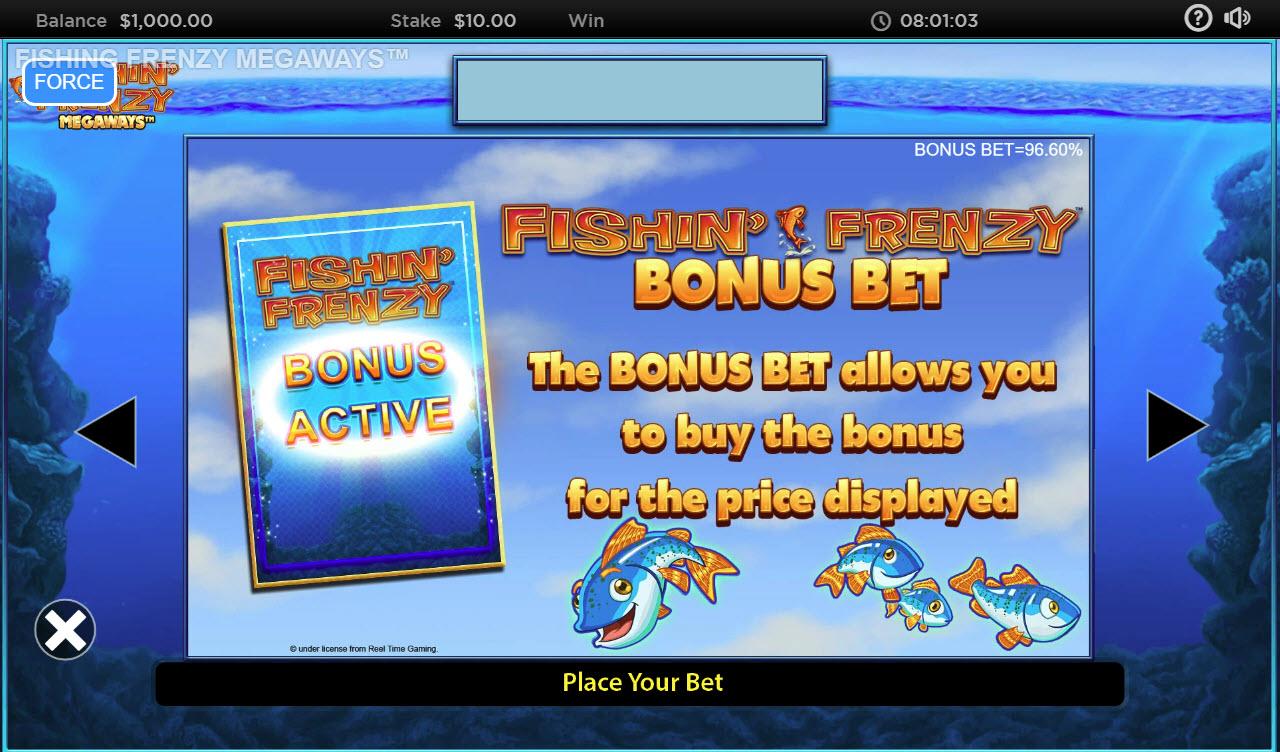 Fishin' Frenzy Megaways :: Bonus Bet