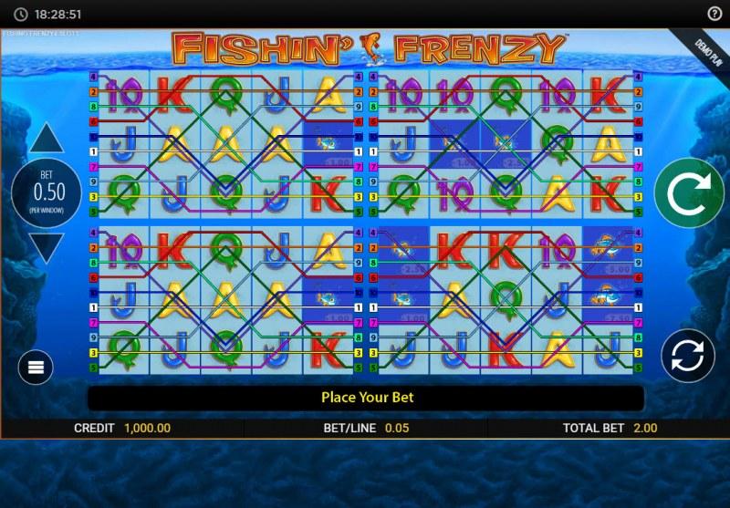 Fishin' Frenzy Power 4 Slots :: Main Game Board