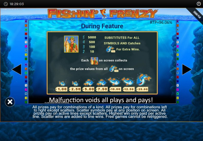 Fishin' Frenzy Power 4 Slots :: Feature Rules