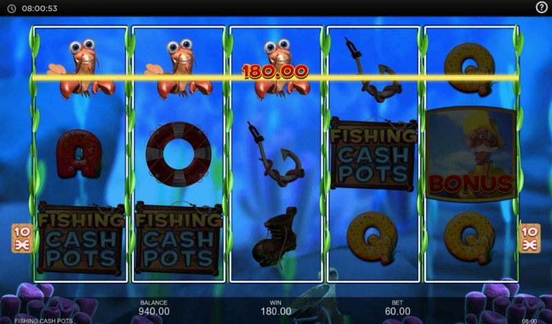 Fishing Cash Pots :: A three of a kind win
