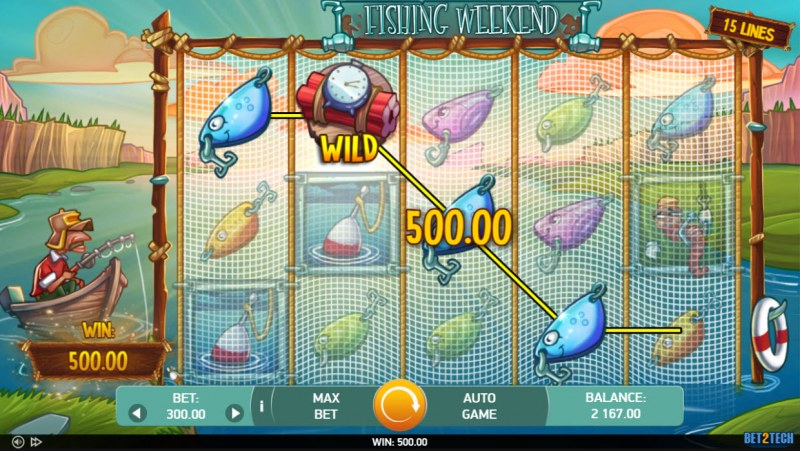 Fishing Weekend :: A four of a kind win
