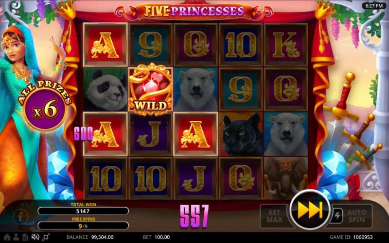 Five Princesses :: A three of a kind win