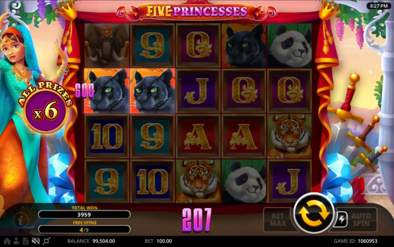 Five Princesses :: Free Spins Game Board