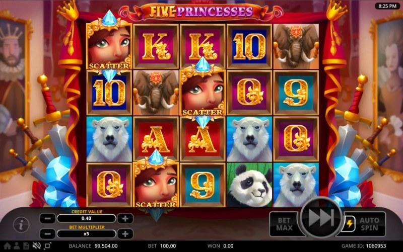 Five Princesses :: Scatter symbols triggers the Princess Pile Up feature