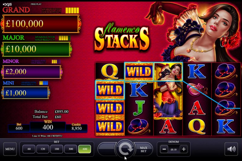 Flamenco Stacks :: Stacked wild lead to multiple winning paylines