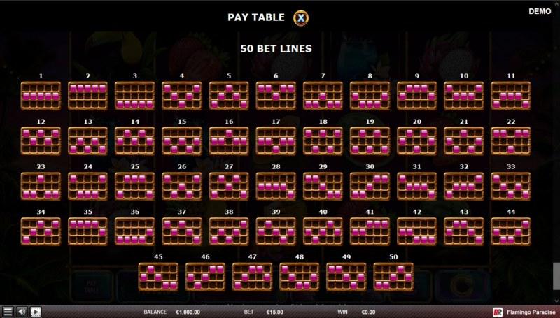 Flamingo Paradise :: Paylines 31-50