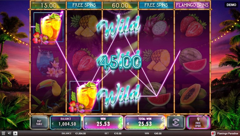 Flamingo Paradise :: Free Spins Game Board