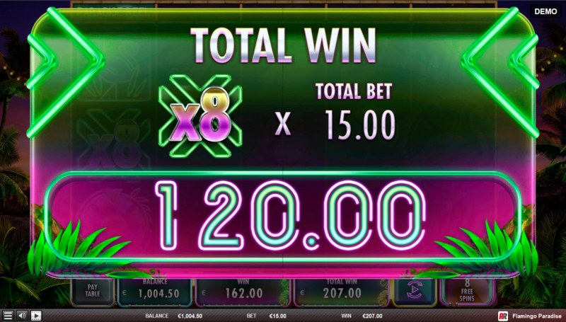 Flamingo Paradise :: X8 multiplier applied to bet