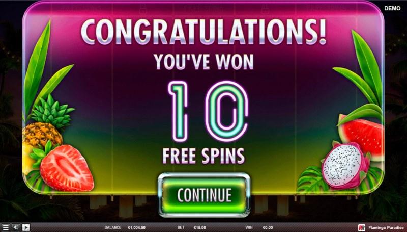 Flamingo Paradise :: 10 free spins awarded