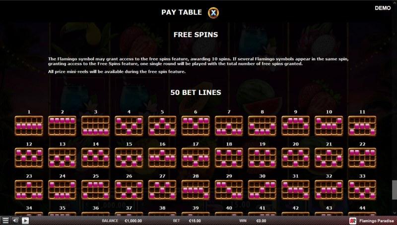 Flamingo Paradise :: Paylines 1-33