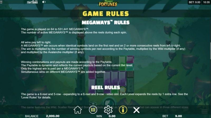 Flower Fortunes Megaways :: General Game Rules
