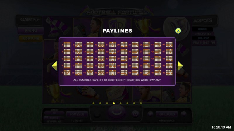 Football Fortunes :: Paylines 1-50