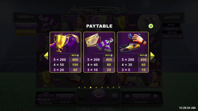 Football Fortunes :: Paytable - Low Value Symbols