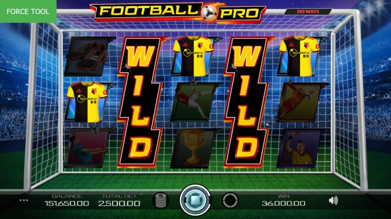 Football Pro :: Stacked wild symbols trigger multiple winning paylines