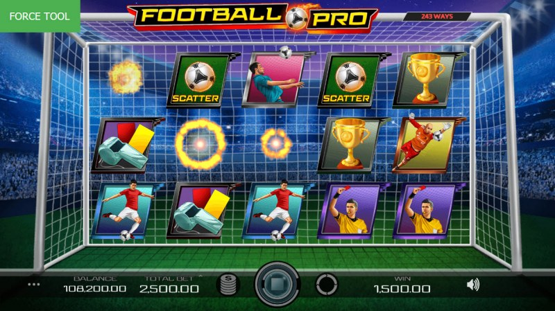 Football Pro :: Winning symbols are removed from the reels and new symbols drop in place