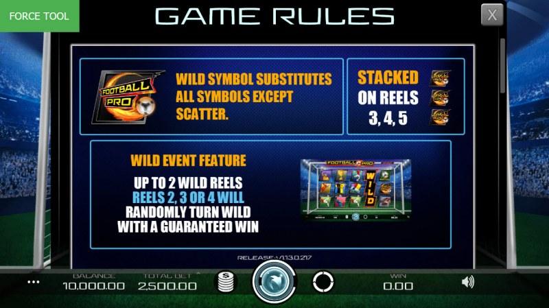 Football Pro :: Wild Symbols Rules