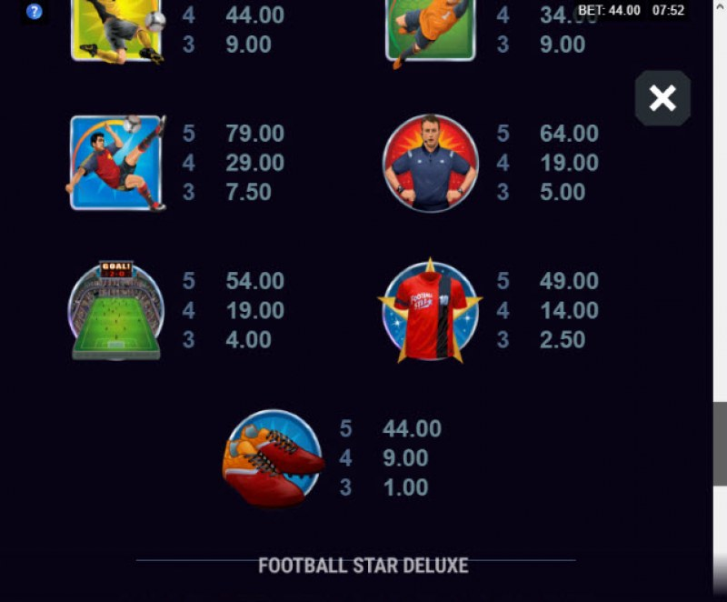 Football Star Deluxe :: Paytable - Low Value Symbols