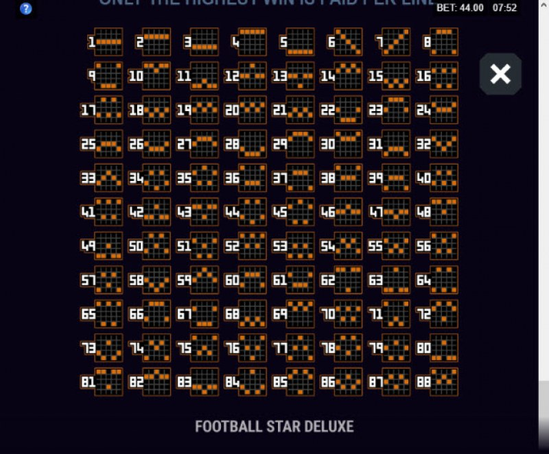 Football Star Deluxe :: Paylines 65-88